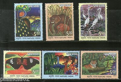 India 2017 Nature India Tiger Elephant Bird Butterfly Deer Animals 6v MNH