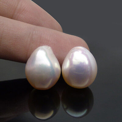 2pcs Natural White Real Freshwater Kasumi Cultured Loose Pearl Undrilled 12.9MM