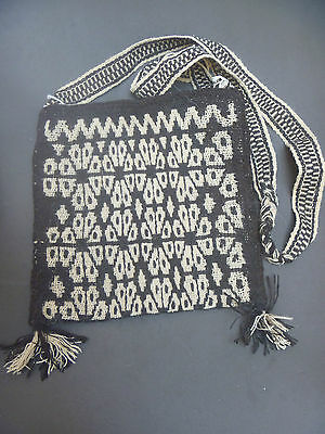 Huichol Handwoven Embroidered Folk Bag Art Hippie Mexico Morral Peyote Wool