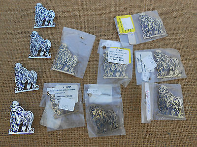 Jewerly 11 White Bronze & Brass Gorilla Brooches Or Pin Virginia Metalcrafters