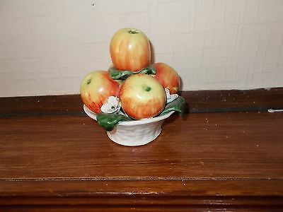 pottery fruit bowl with apples height 6.5""