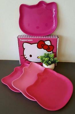 Tupperware 4 pc Sweet Pink Hello Kitty Dining Plates Set New Limited Edition