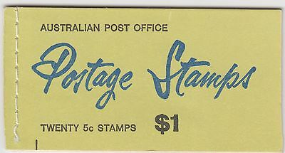 AUST. STAMP $1 BOOKLET With 5c  Blue Queen Stamps. HAS WAX INSERTS SB43a
