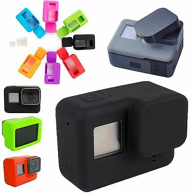 BLACK Silicone Case Cover + Protective Lens Cap 4 GoPro Hero5 Camera AU Seller