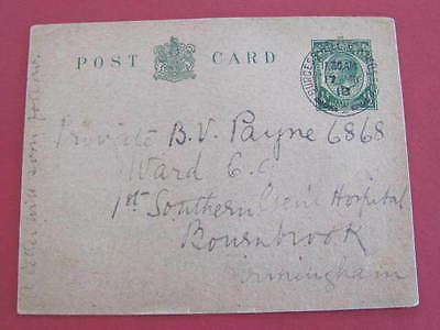WW1 GB Postal Stationery Post Card to Soldier in Hospital Postally used 1918