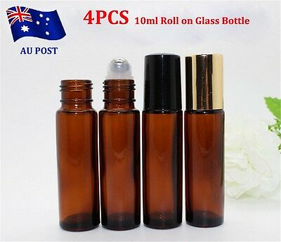 4x 10ml Roll on Glass Bottle Essential Oil Perfume Roller Ball Bottle with Cap u