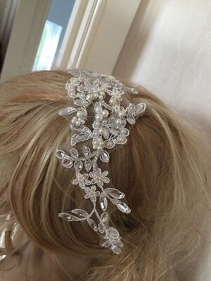 Ivory Lace Pearl Diamanté Bridal Wedding Headpiece Hair Clip Accessories