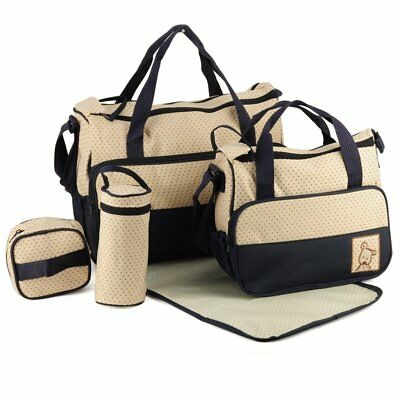 6Pcs Baby Nappy Changing Bags Set Mummy Waterproof Diaper Hospital Bag BROWN