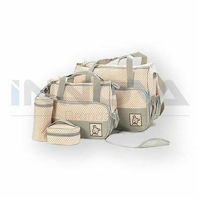 6Pcs Baby Nappy Changing Bags Set Mummy Waterproof Diaper Hospital Bag BEIGE