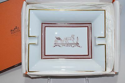 Hermes Porcelain Cigar Ashtray Vintage Horse Carriage with Box Authentic Valet