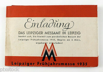 1935 INVITATION to LEIPZIG TRADE FAIR Leipziger Messe With MAP Illustrated