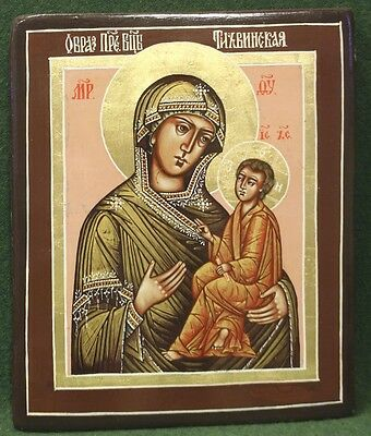 RUSSIAN ORTHODOX TEMPERA PAINTED ICON: TIKHVIN MOTHER of GOD