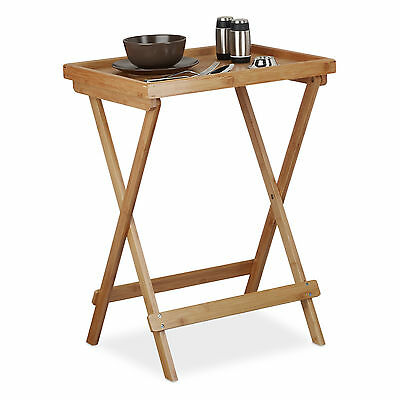 Tray Table Bamboo Sofa Table Folding Side Table for Breakfast and Serving Wooden