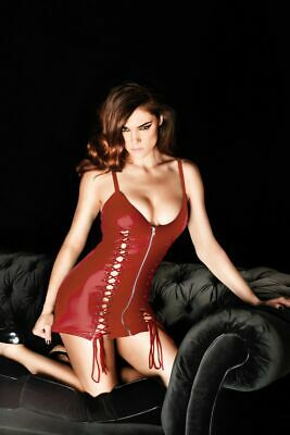 Ann Summers Womens Addiction Dress Red Sexy Wet Look Lace Up Zip Erotic Clothing