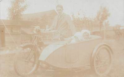 Vintage Antique Sidecar Motorcycle, Father, Children