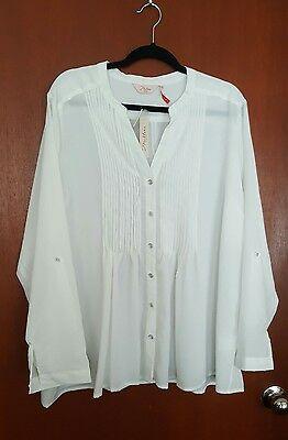 Women's Plus Size 22 Millers White Pleat Shirt Blouse Top BNWT