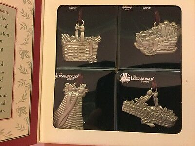 NIB 4 Longaberger Baskets Pewter Christmas Tree Ornaments 1994 72311
