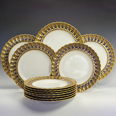 "Antique Copeland Spode Encrusted Gold on Cobalt Blue 10"" Plates 1/3812 c.1880"