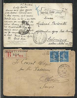 Yougoslavia,serbia,greece:1918 Wwi,a Card From Corfu & A Cover From Salonica