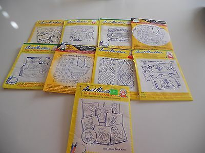 Aunt Martha's Hot Iron Transfers - Lot of 9 - Opened Packages
