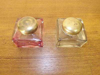 Pair Antique Victorian Screw Lid Glass Inkwells. 1880's