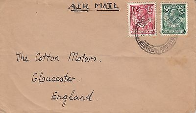 N 1579 Northern Rhodesia Broken Hill 1938? airmail cover UK; 2d rate
