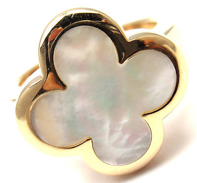 Authentic! VAN CLEEF & ARPELS Pure Alhambra 18k Yellow Gold Mother Of Pearl Ring