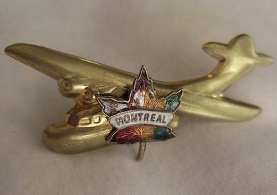 VINTAGE Gold-tone AIR CANADA Souvenir AIRPLANE Pin BROOCH w/ENAMEL MONTREAL LEAF