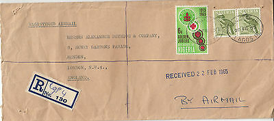 N 1785 Nigeria Registered Express 1965 cover air UK; 2/6d rate; 3 stamps. Scouts
