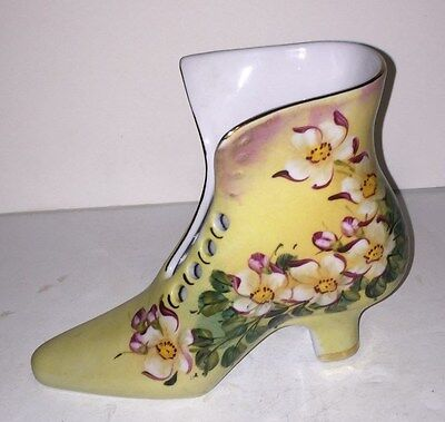 Antique porcelain ceramic ladies shoe boot hand painted Limoges China