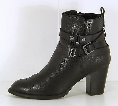 MARKS & SPENCER Black REAL LEATHER Biker Style Ladies Ankle Boots size 4.5