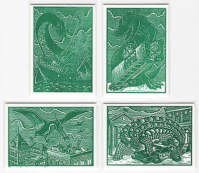 MARS ATTACKS OCCUPATION Dinosaurs Attack Genuine T-Rex Fossil Woodcut Card Set