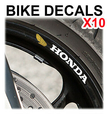 10X Honda Classic Wing Motorcycle Bike Wheel Stickers Decals Tape Rims