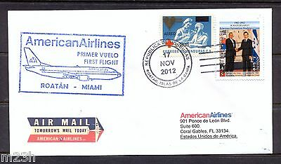 Honduras. First flight cover. FFC. American Airlines, Roatan to Miami. 90 flown