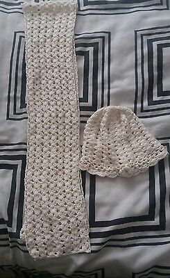 New ethel austin girls white hat and scarf set- 9-12 years