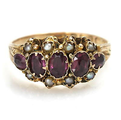 Antique Victorian 9ct Gold Amethyst and Seed Pearl Ring Size Q Hallmarked 1876