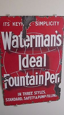 """WATERMAN'S IDEAL FOUNTAIN PEN"" Sign 1910's Original Heavy Enamel Very Large"