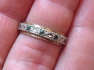 9ct Gold Emerald And Diamond Full Eternity Ring