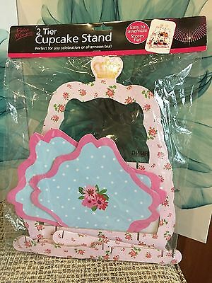 2 Tier Cupcake Cake Stand Vintage Look New