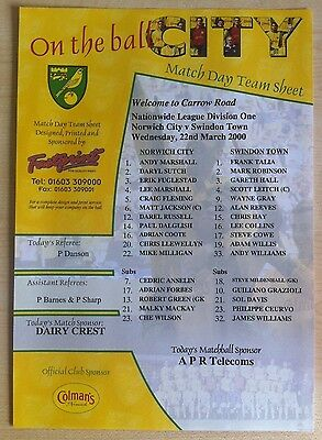 Norwich City v Swindon Town Matchday Teamsheet - 22nd March 2000