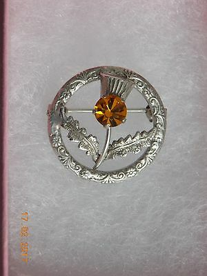 Stunning Sterling Silver Thistle Design Brooch with Amber Inset Stone