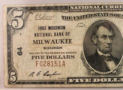 1929 $5 National Bank Note  First Milwaukee Wisconsin  Ch #64 Type 1 Very Rare