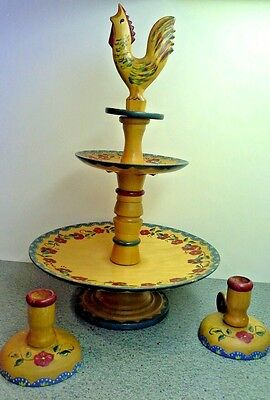 Unique Vintage Hand Painted Wood 2 Tier CAKE STAND AND CANDLE HOLDERS