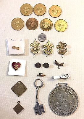 Vintage Boy Scout Fobs, Coins, Badges, Medals, Pins. Key Chain, Neck Tie Clip