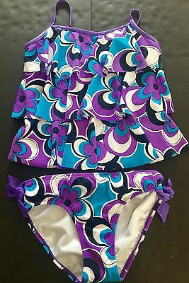 Justice Girls Spring Summer Bold Floral Ruffled Tankini Swimsuit, Sz 14, NWT
