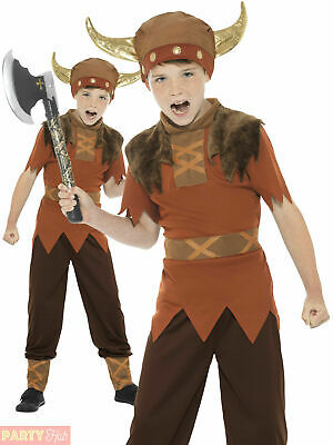 Boys Viking Costume Warrior Saxon Book Day Historical Medieval Kids Fancy Dress