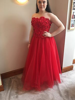 Used Red Ball Gown/wedding Dress Size 14