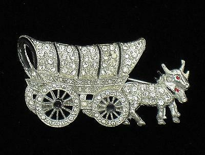 ART DECO  Covered Wagon Figural Brooch Wheels Move BK PC