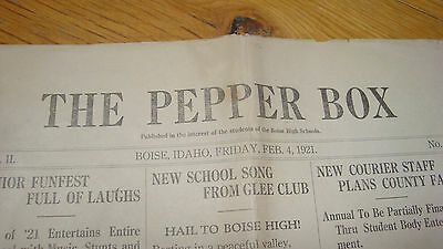 Vintage 1921 Boise High School newspaper Pepper Box Idaho 8 pgs old advertising