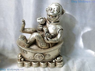 China Silver carved sculpture fine Yuan Bao as one wishes Monkey Statue